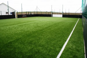 Image showing an example of artificial grass used to surface a football pitch.